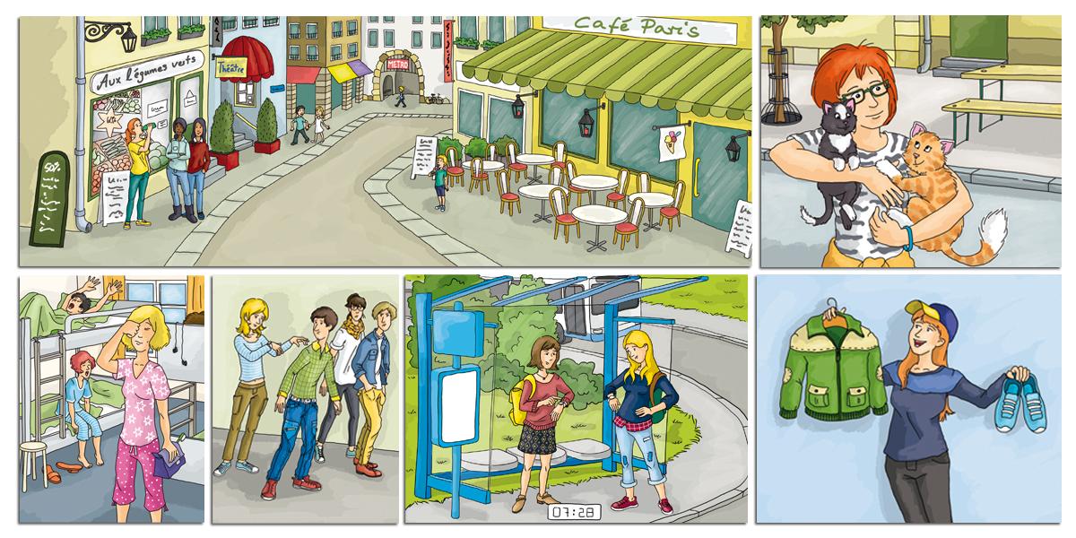 Szenen aus dem Französischbuch Le Cours intensif 1
