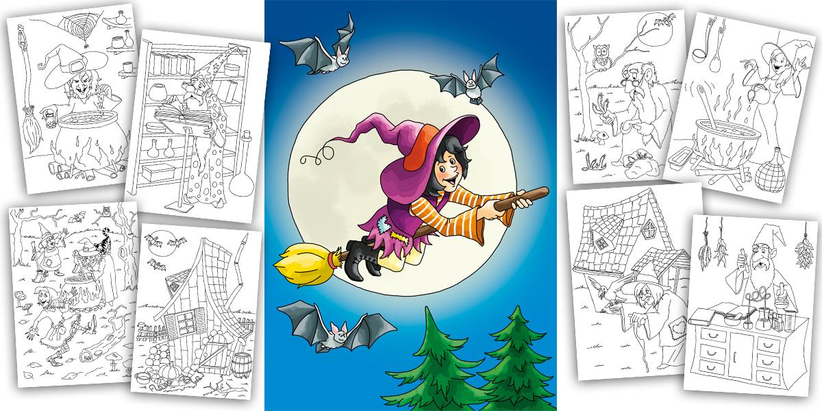 Ausmalbuch Hexen und Zauberer